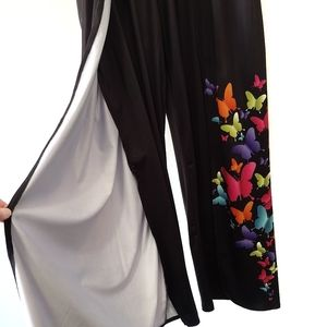 Open leg palazzo pants black and floral